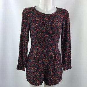 Jack Wills Navy And Red Floral Romper Size 4